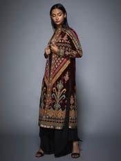 Sobhita Dhulipala In A Burgundy & Black Manvi Ikat Coat