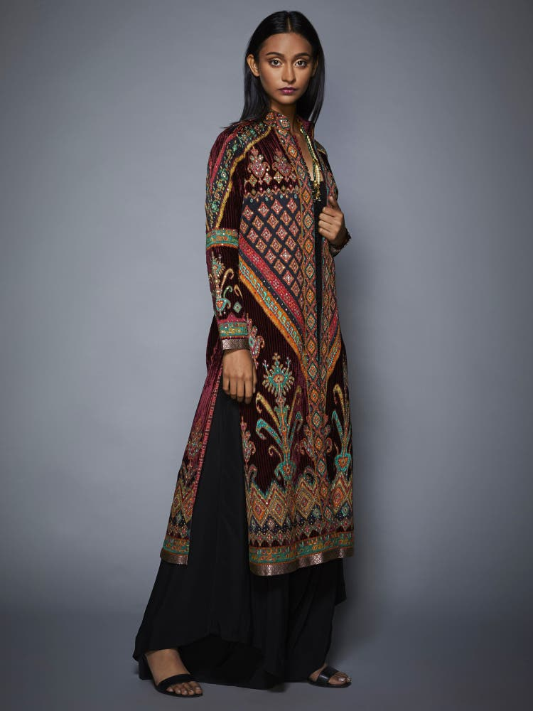 Sobhita Dhulipala in a Burgundy & Black Ikat Coat