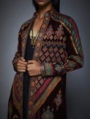 Burgundy & Black Ikat Coat