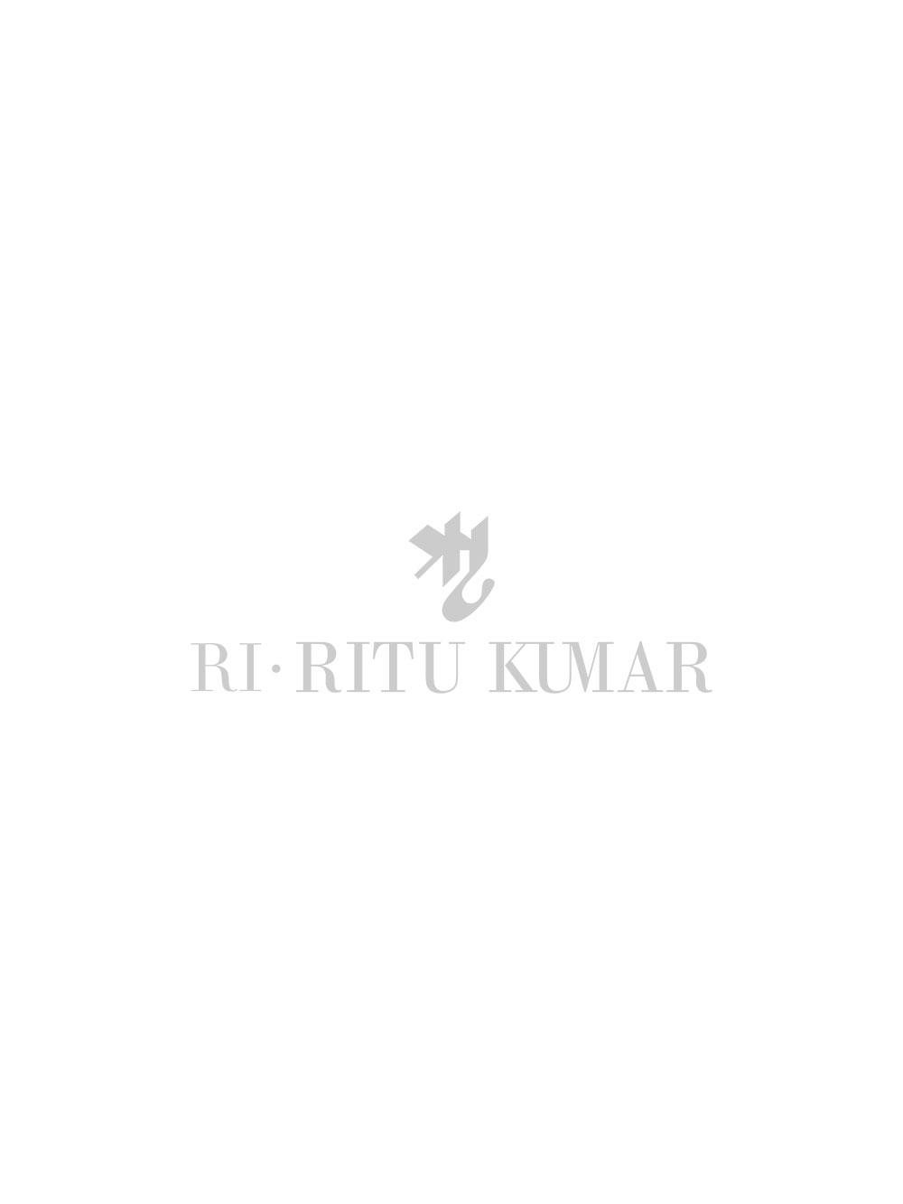 Beige & Indigo Embroidered Kurta With Stitched Blouse