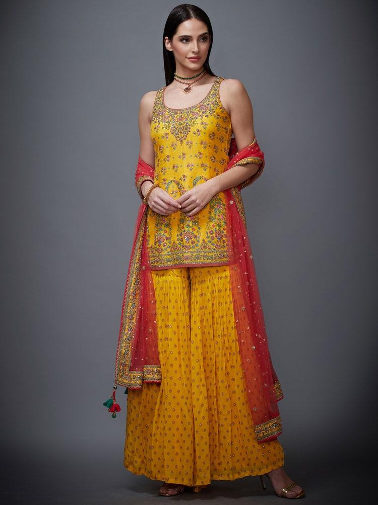 Yellow Kesari Zardozi Embroidered Suit Set