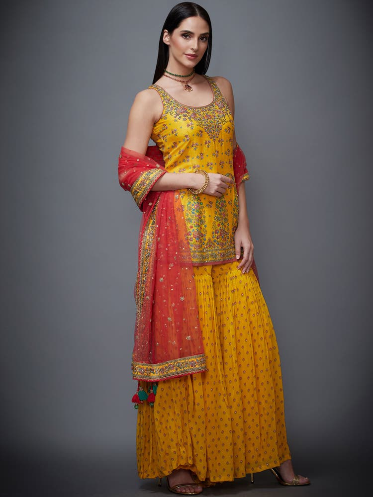 Yellow Zardozi Embroidered Kesari Suit Set