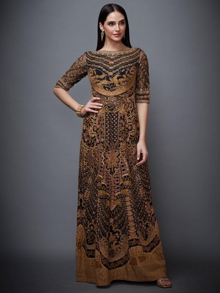 Black & Olive Green Jasveera Embroidered Dress