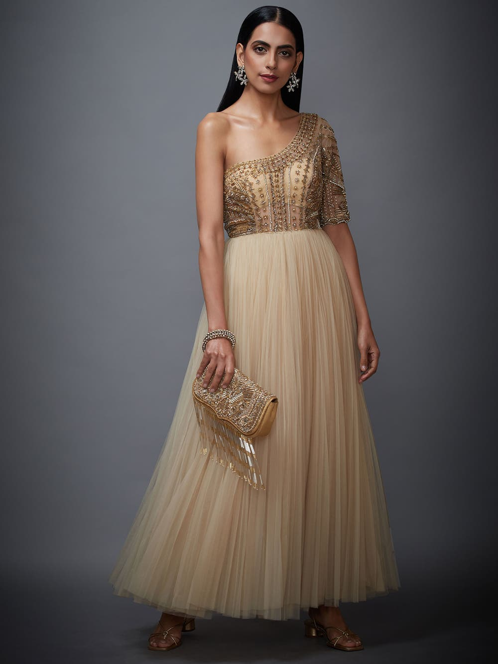 Beige & Gold Sonar Net Dress