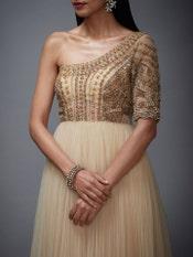 Beige & Gold Sonar Net Dress
