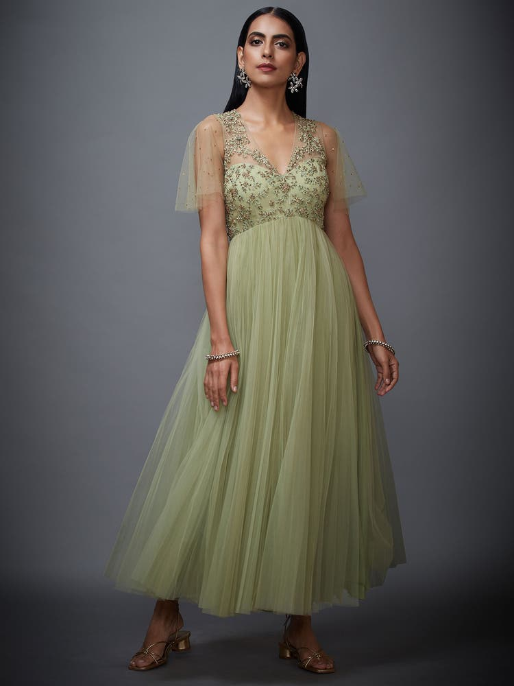 Mint Green Net Begum Dress