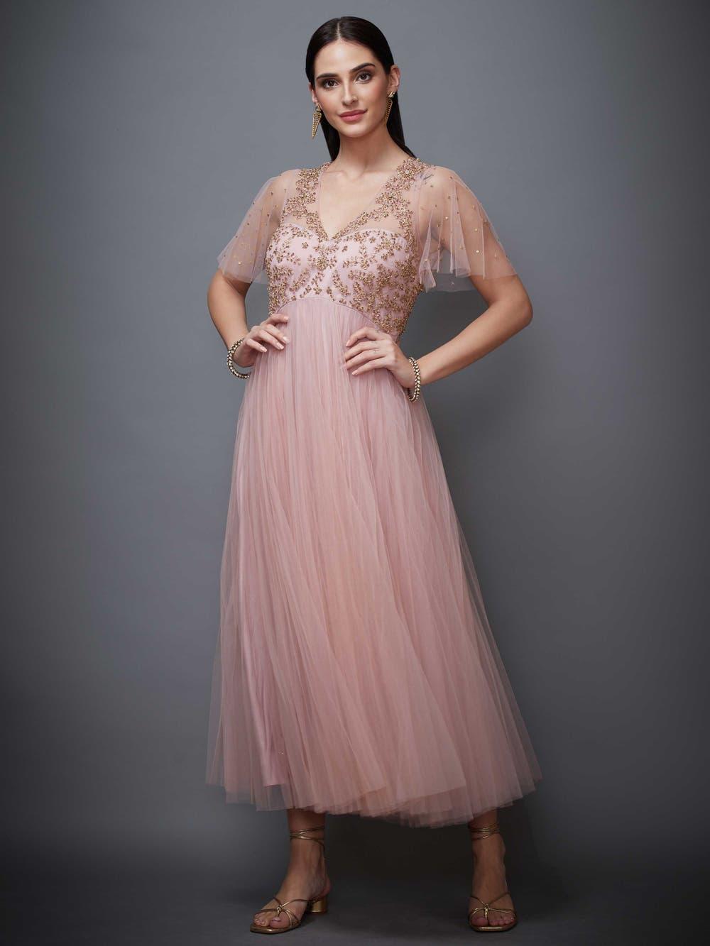 Pastel Pink Begum Embellished Net Dress