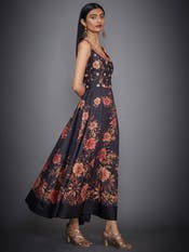Black Kalpita Floral Embroidered Dress