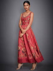 Coral Floral Embroidered Dress