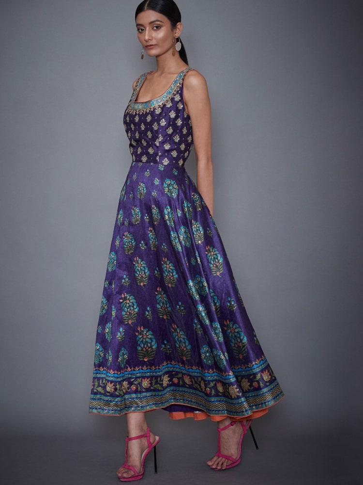 Purple Agora Jasmine Embroidered Dress