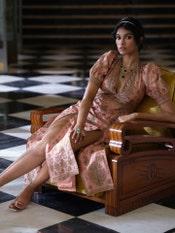 Peach & Gold Satnam Embroidered Dress