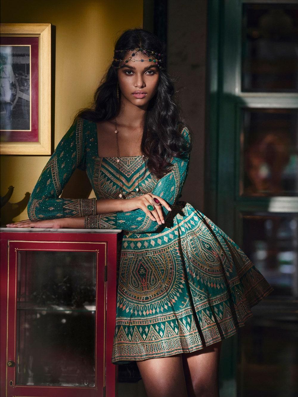 Emerald & Multi Colour Rabari Embroidered Dress