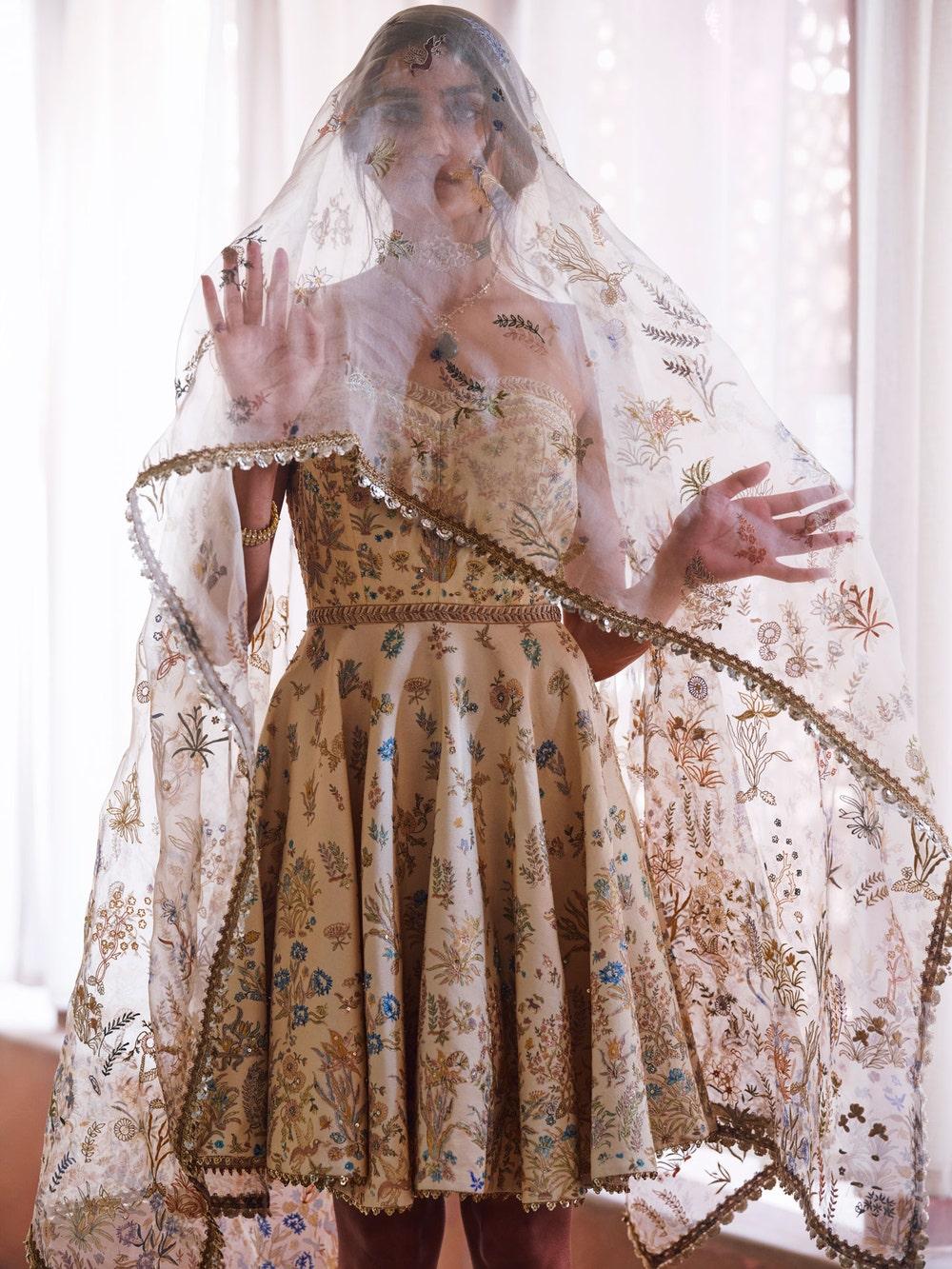 Ivory Nazli Embroidered Dress