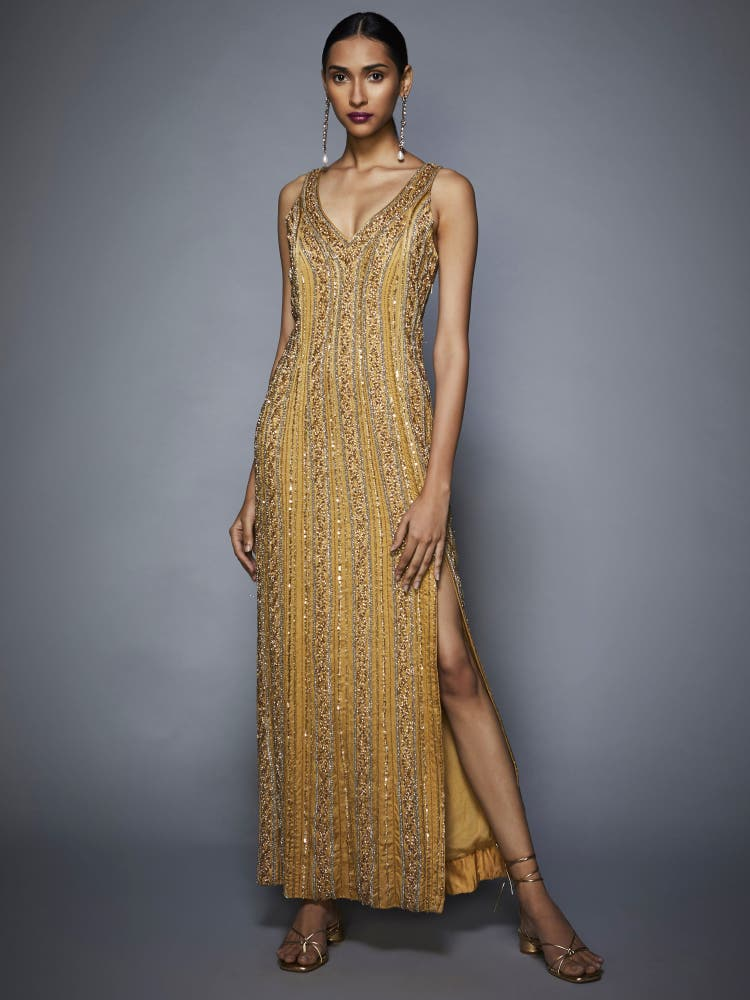 Gold Embellished Cocktail Dress