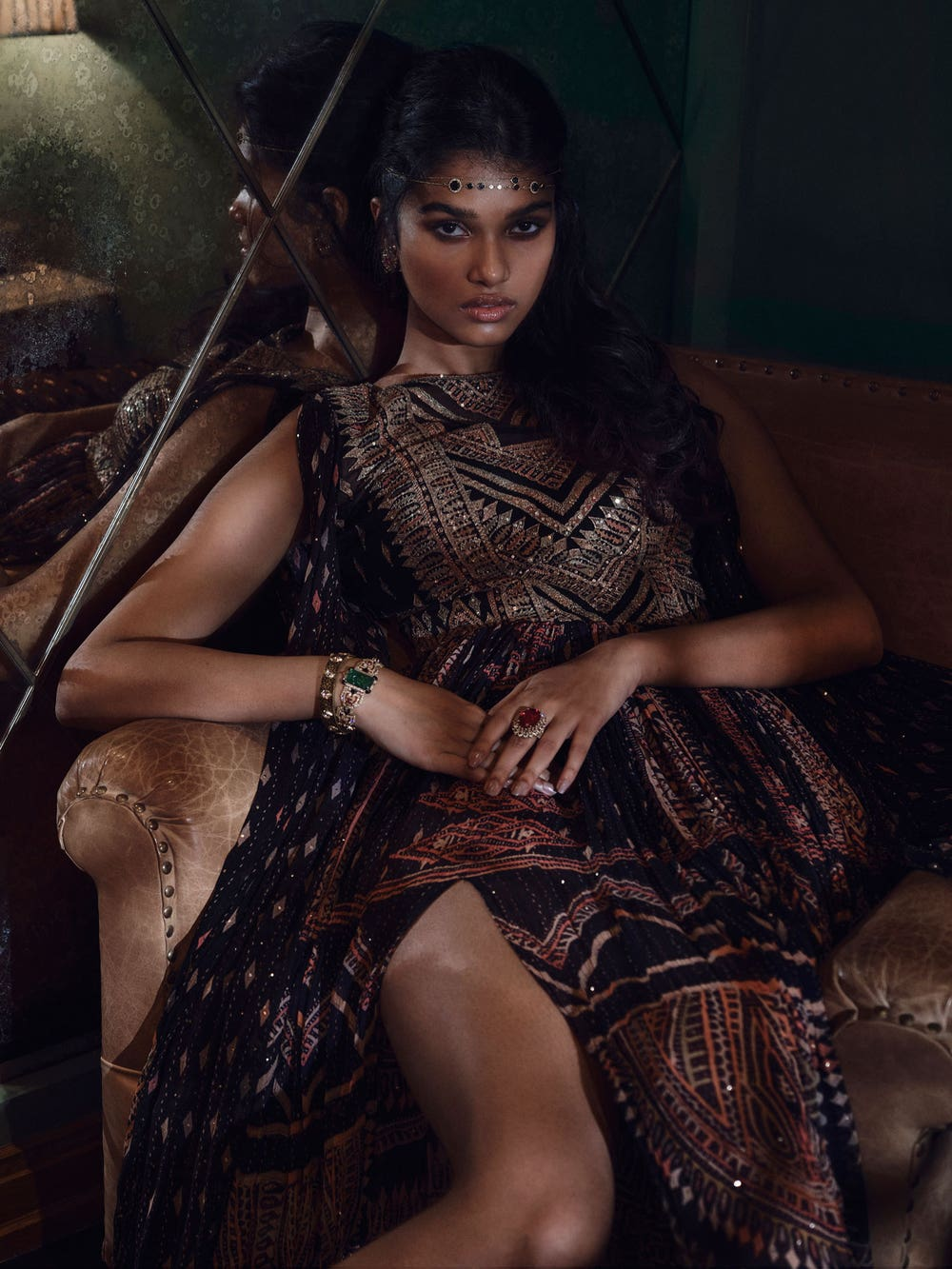 Black & Multi Colour Rabari Embroidered Dress