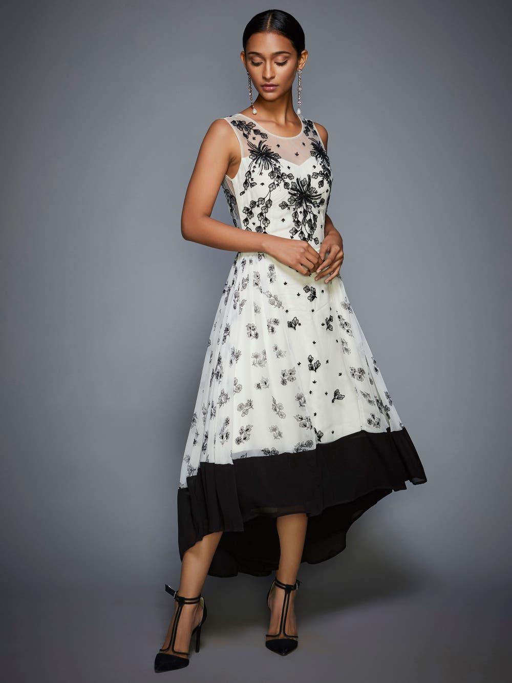 Ivory & Black Floral Asymmetric Dress
