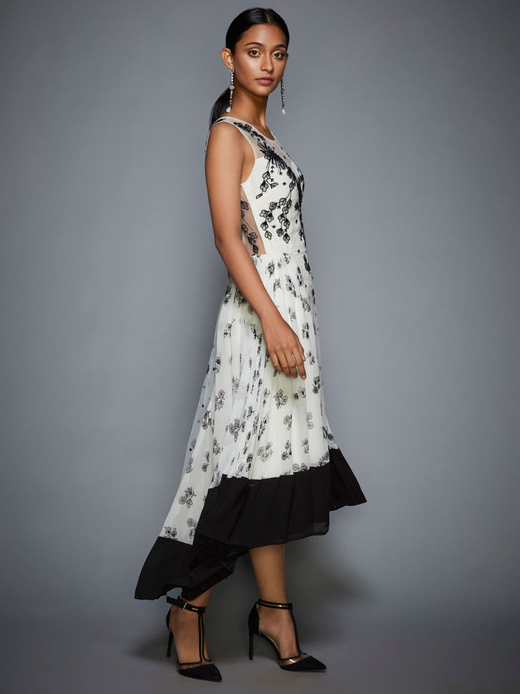 Ivory & Black Floral Asymmetric Dress