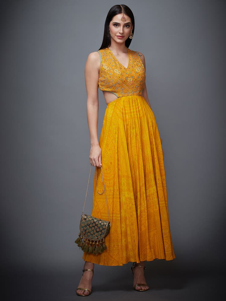 Topaz Yellow Madhuhira Embroidered Cut-Away Dress