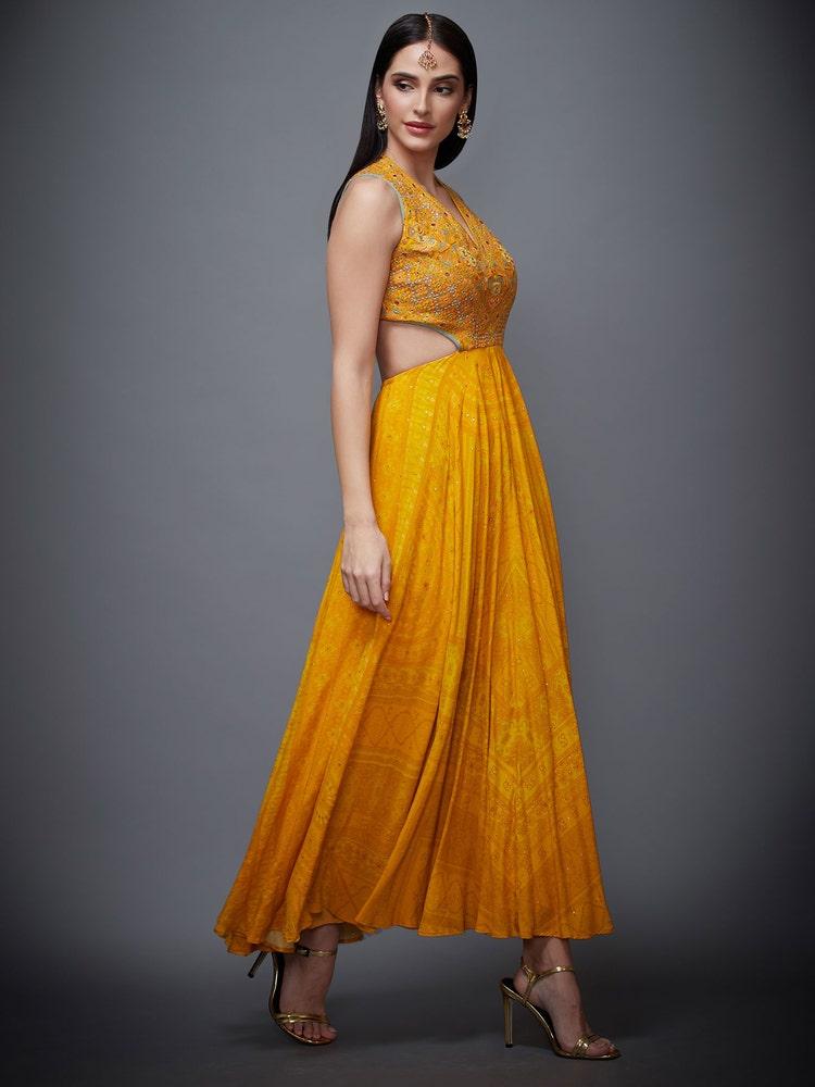 Topaz Yellow Madhuhira Embroidered Cut-Away Dress