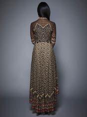 Tara Sutaria in a Charcoal & Beige Ikat Asymmetrical Dress
