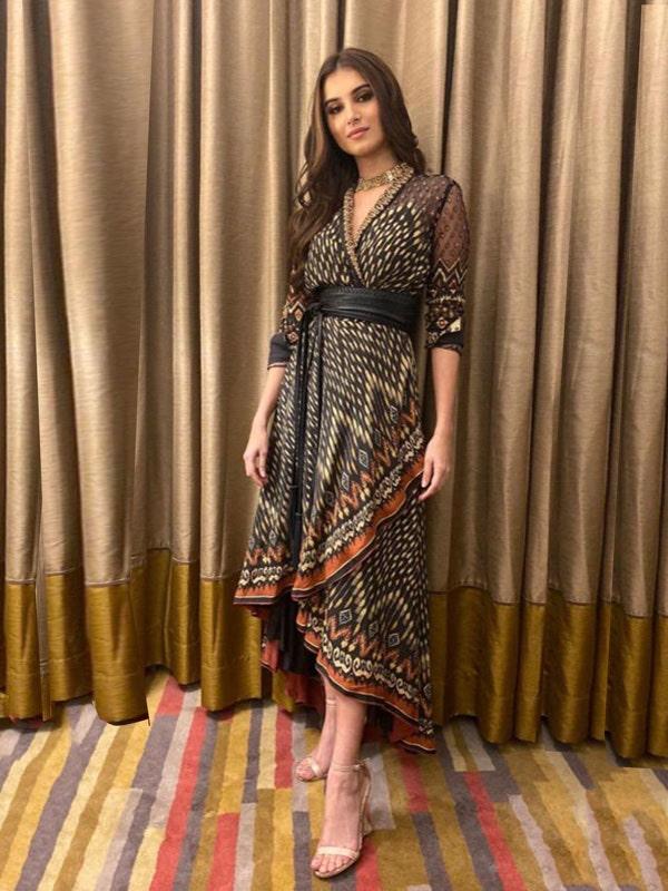 Tara Sutaria In A Charcoal & Beige Kuru Ikat Asymmetrical Dress
