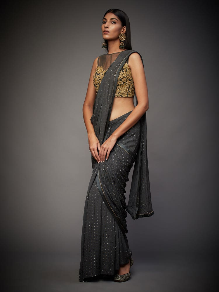 Charcoal Grey Shirley Embroidered Draped Saree With Stitched Blouse