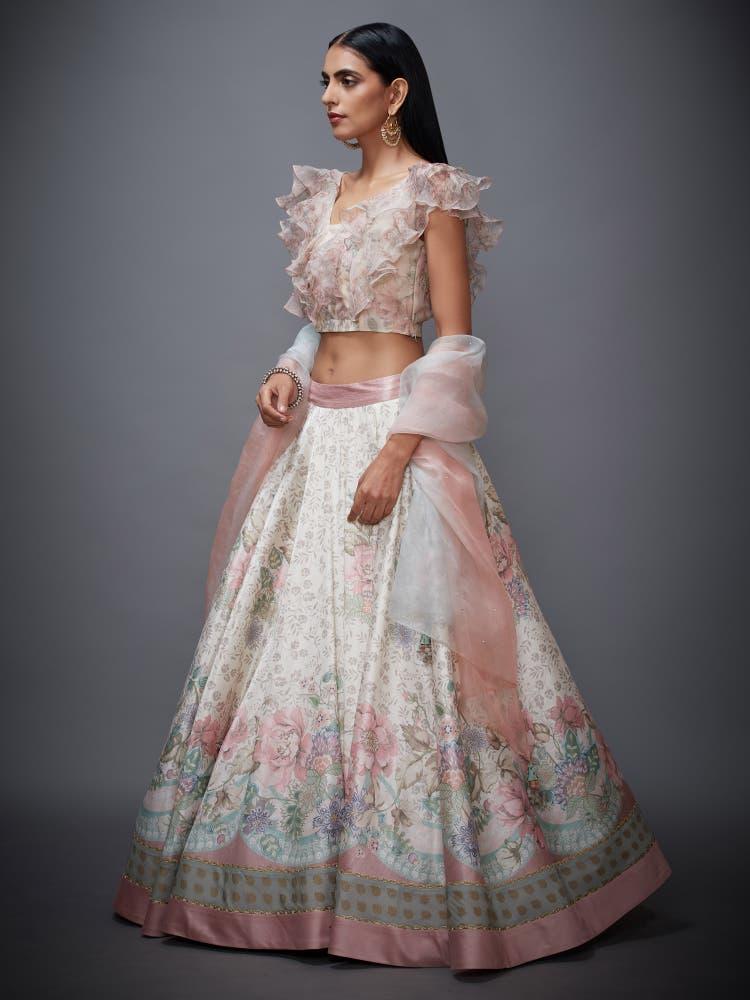 Off White & Pink Floral Print Ruffle Lehenga