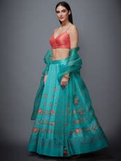 Jade Blue & Coral Ethina Printed Lehenga Set