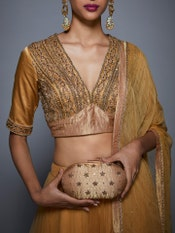 Gold Bollywood Bling Embroidered Clutch