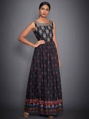 Black Geometric Print Gown