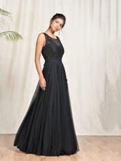 Black Floral Embroidered Gown