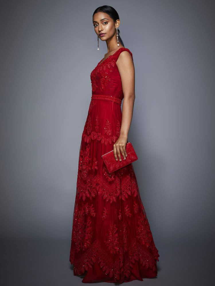 Dia Mirza In A Ruby Red Madame Scarlet Embroidered Cocktail Gown