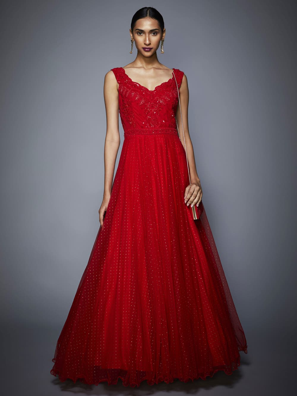 Ruby Red Embroidered Cocktail Gown
