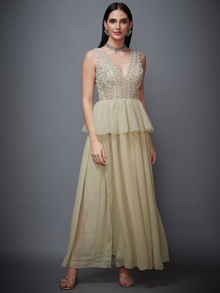 Moss Green Embroidered Net Gown