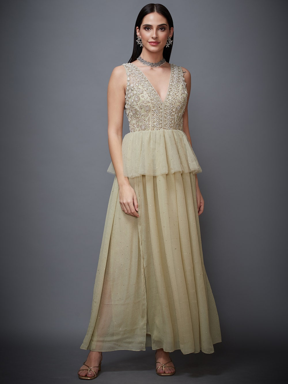 Moss Green Pearl Embroidered Net Gown