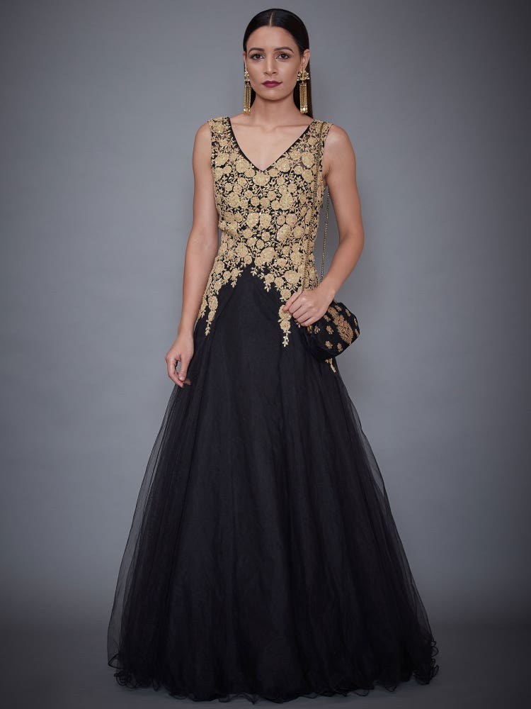 Black Tulip Embroidered Gown