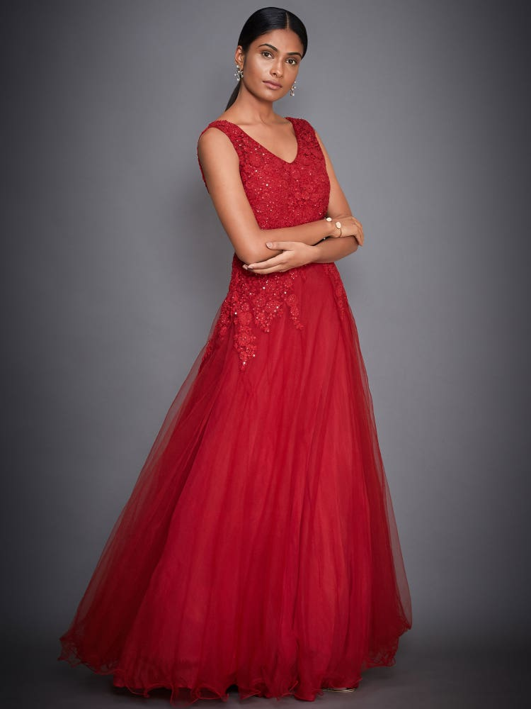 Red Tulip Embroidered Gown