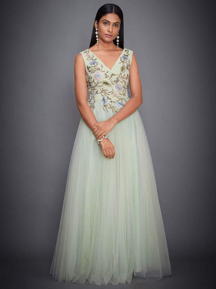 Mint Green Floral Net Gown