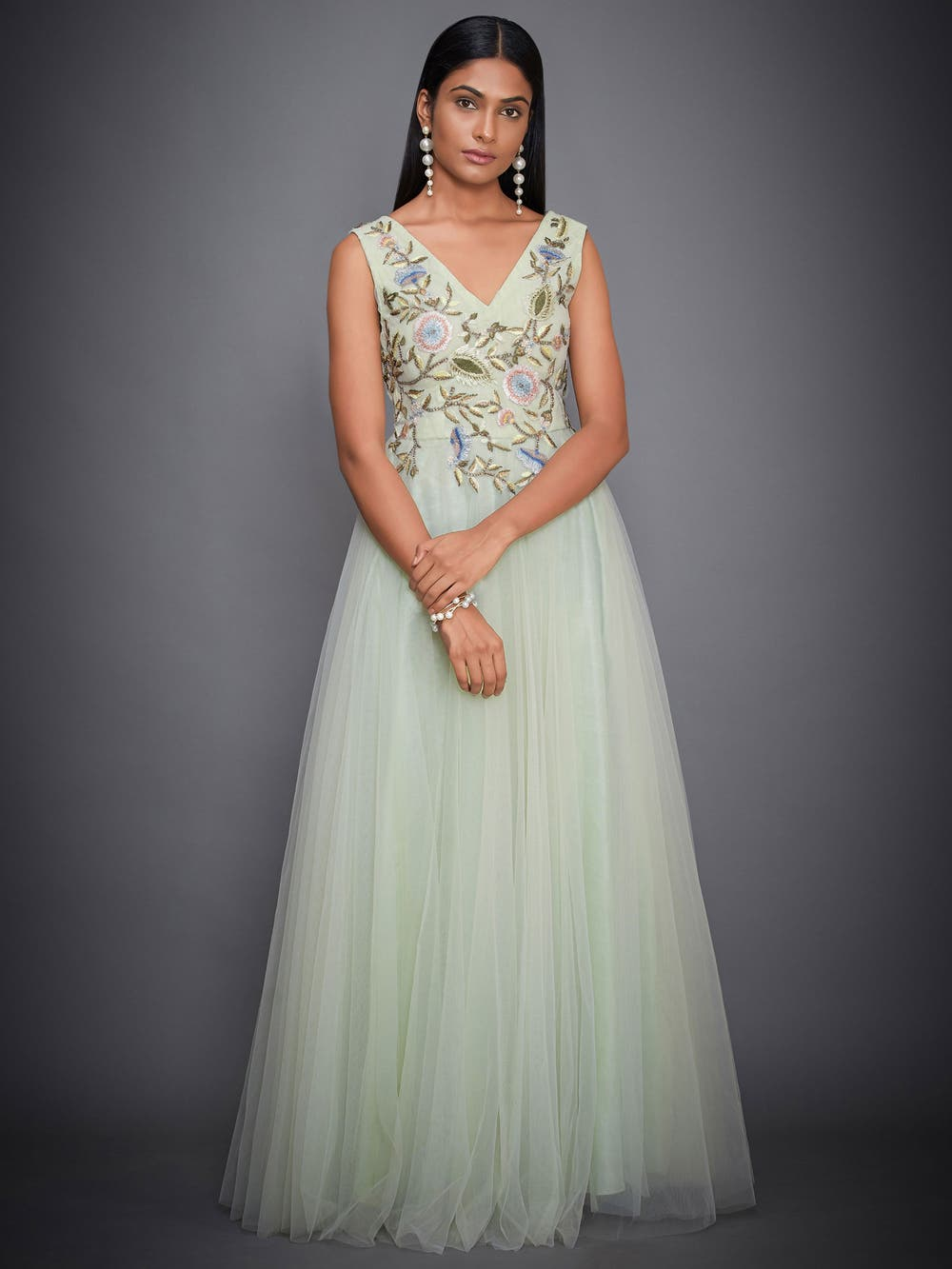 Mint Green Floral Net Gown