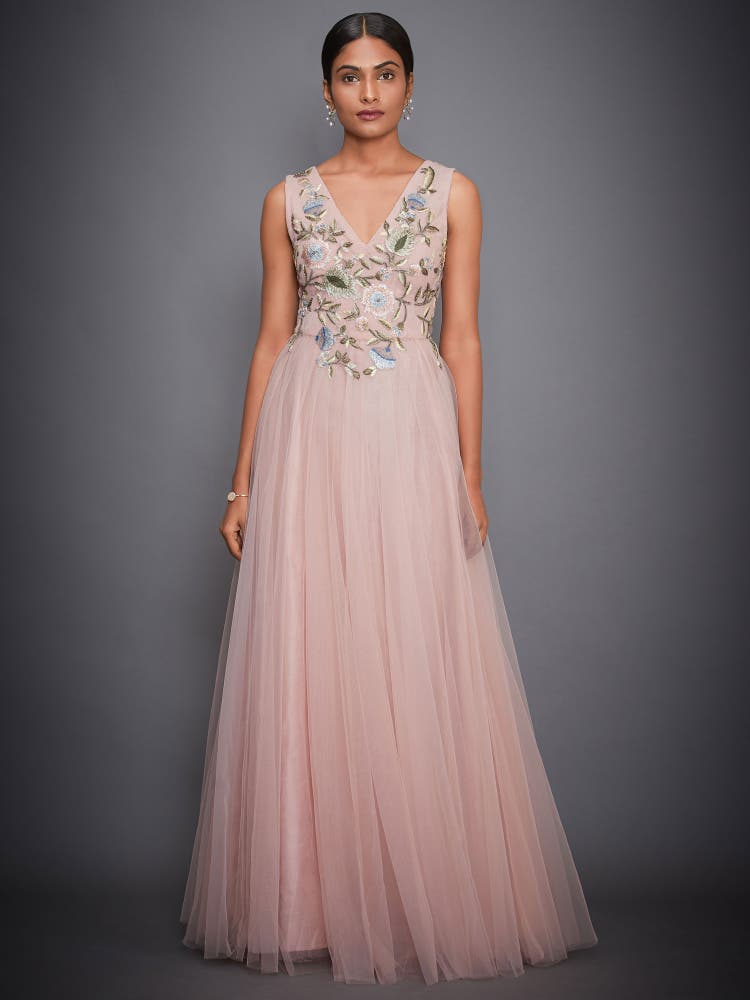 Pink Floral Net Gown