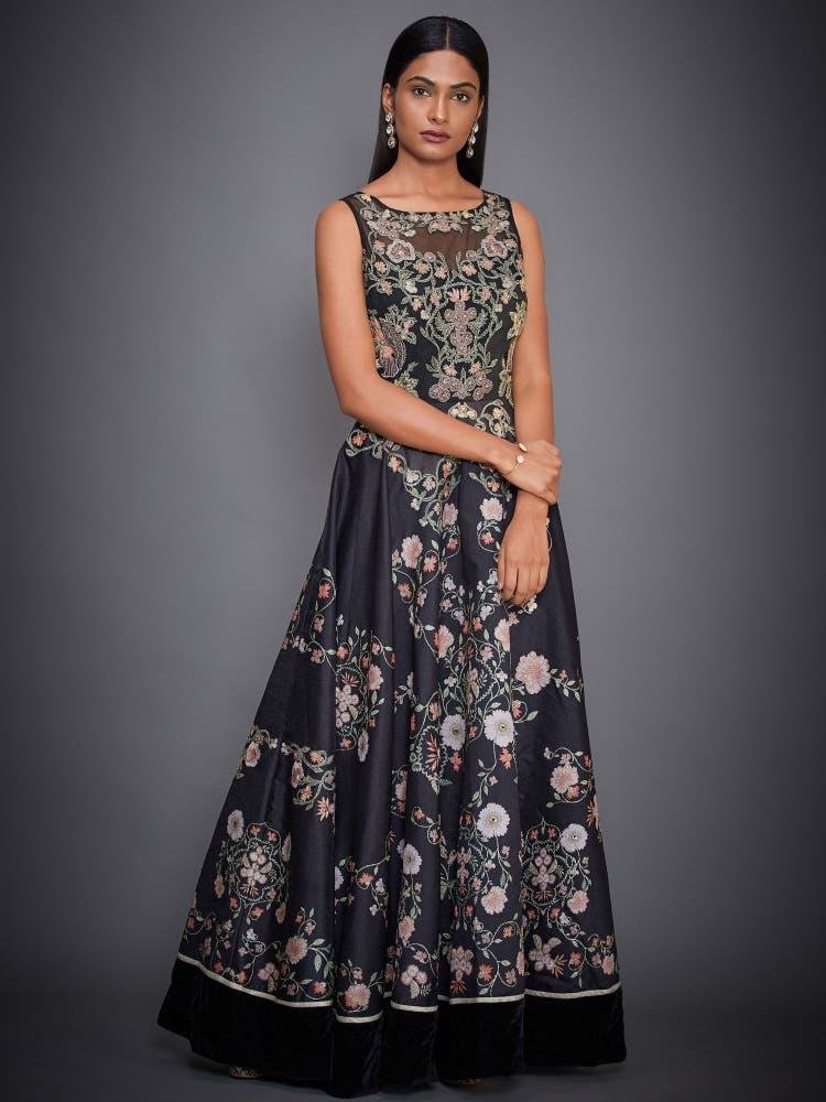 Black Embroidered Floral Gown