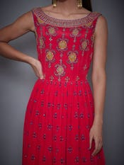 Cherry Red Embroidered Gown