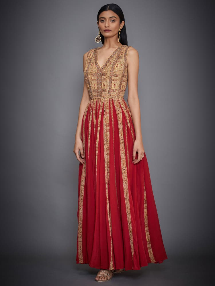 Red & Ochre Zardozi Gown