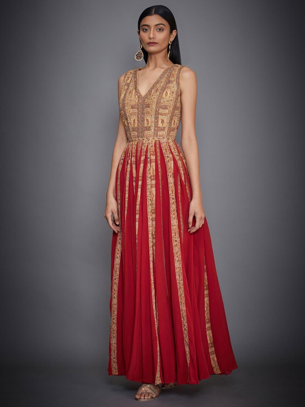 Red & Ochre Zardozi Gown