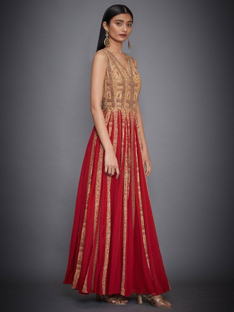 Red & Ochre Antik Ikat Zardozi Gown