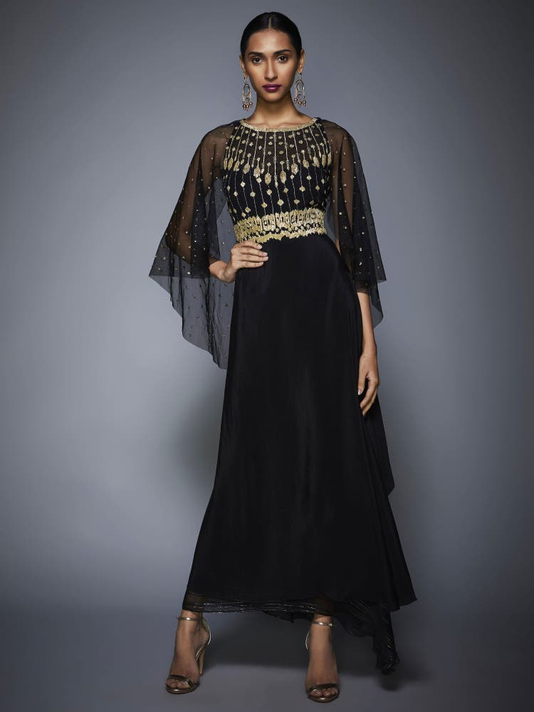 Black Embroidered Draped Gown