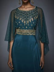 Teal Embroidered Draped Gown