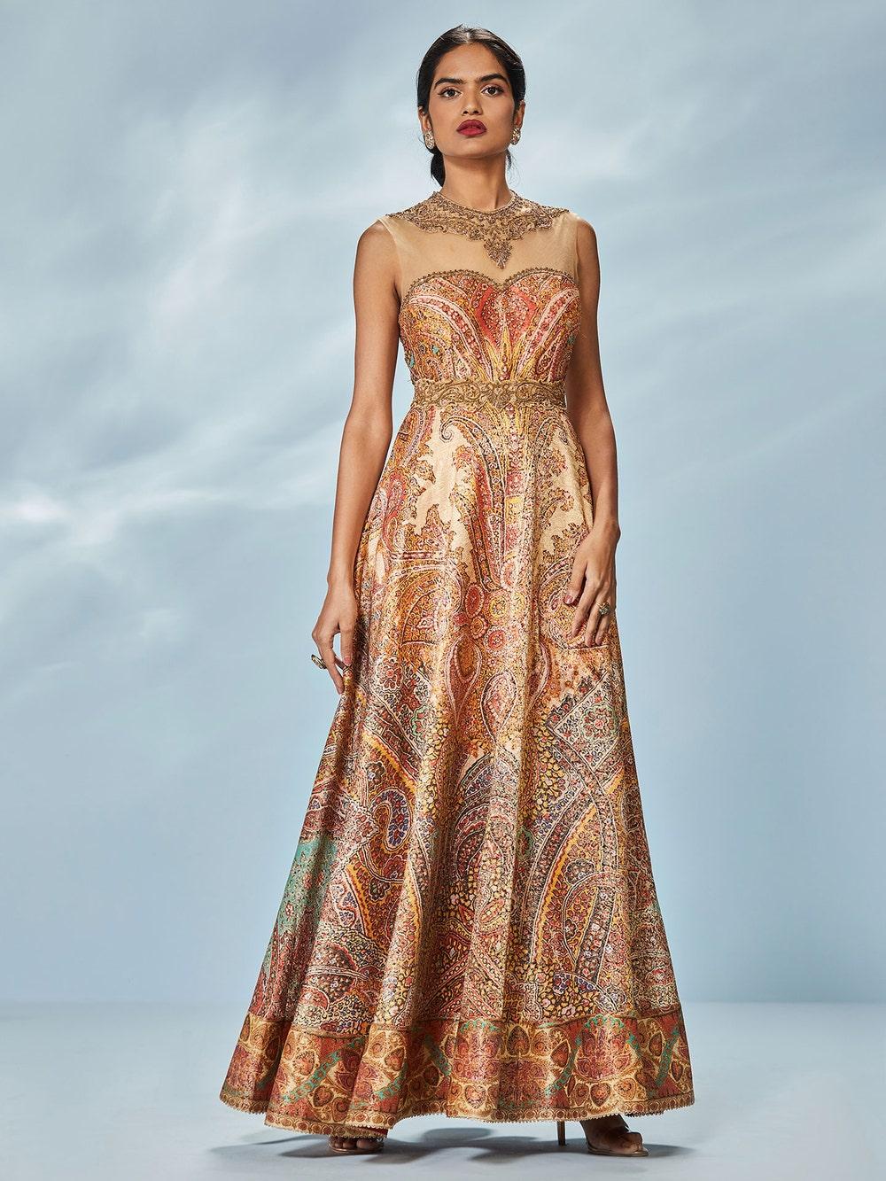 Burnt Orange & Multi Colored Niscira Zardozi Hand Embroidered Gown