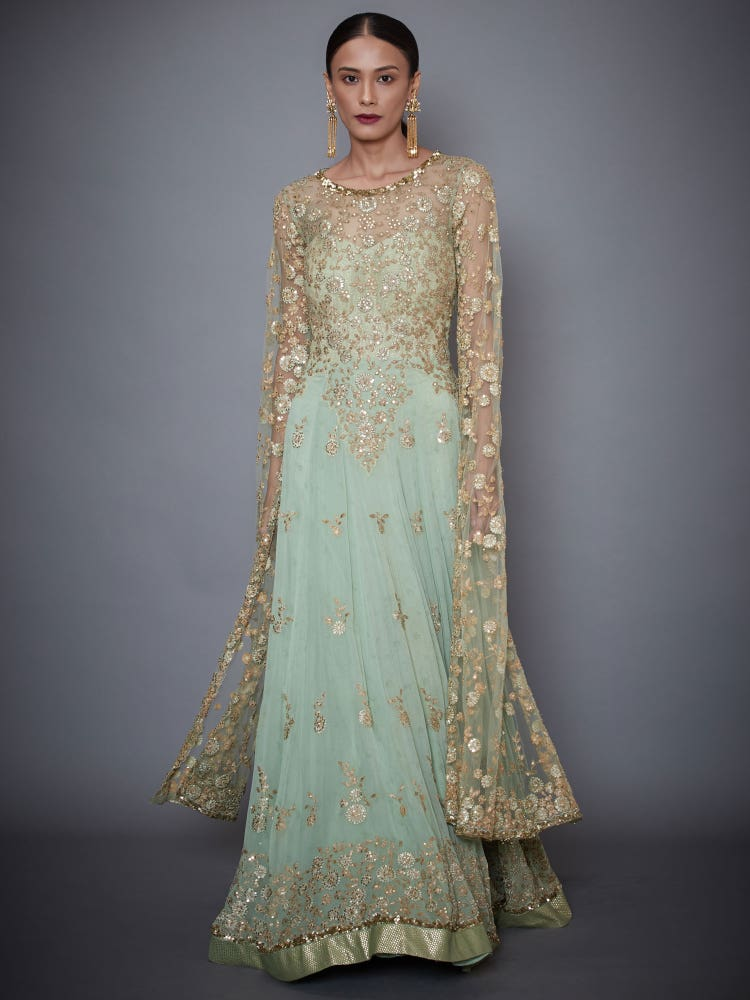 Mint Green Saloni Embroidered Gown With Long Sleeves