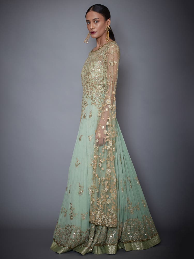 Mint Green Embroidered Gown With Long Sleeves